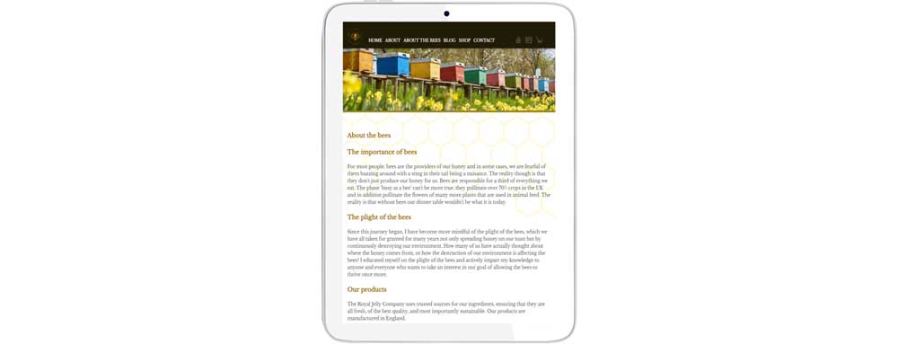 website design tablet view