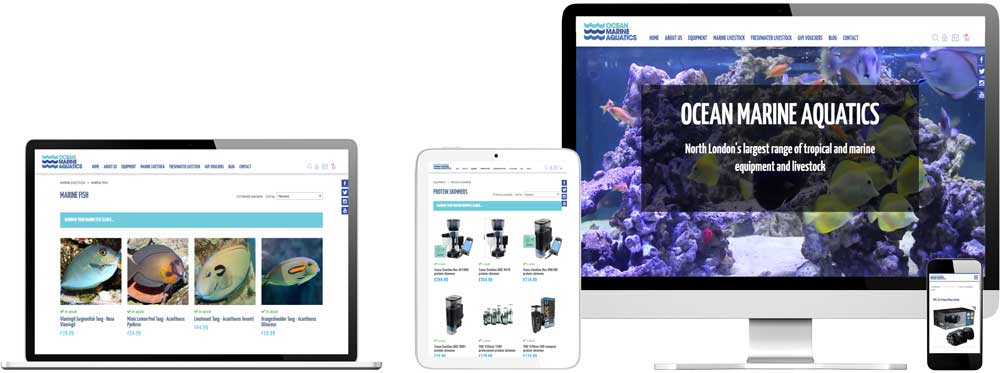 eCommerce website case study for tropical and marine aquatics Website Snap
